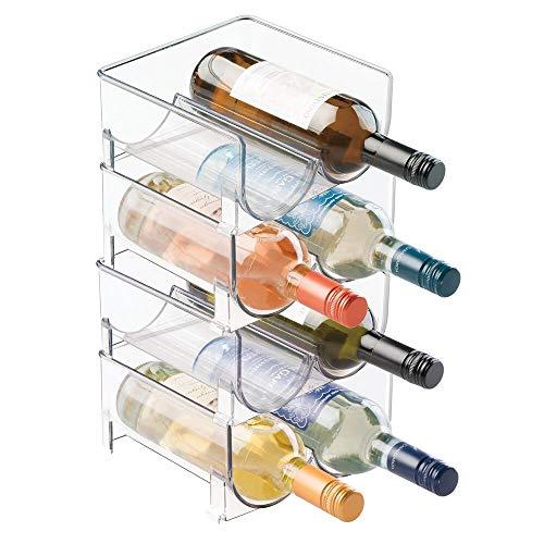 mDesign Estante para botellas de vino - Ahorre espacio con este botellero apilable y tenga siempre ordenadas sus botellas de vino, agua o refrescos - Vinoteca para 8 botellas - transparente