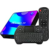 Android TV Box 10, 4GB RAM 32GB ROM Android 10 Compatible con 4K 3D, RK3318 Dual-WiFi 2.4g / 5g Smart TV Box con Mini Teclado