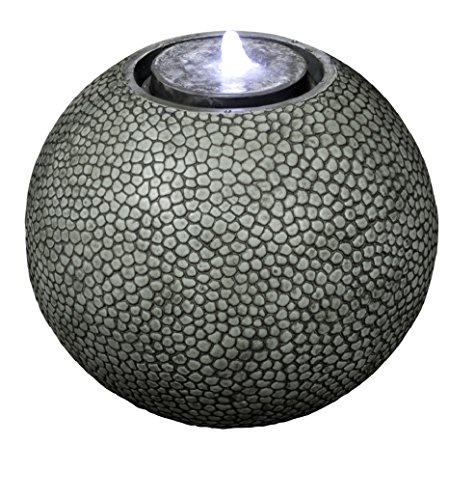 Pebble Sphere 19' Fountain w/LED Light: Large Ball Water Feature, Indoor/Outdoor, Garden Fountain, Patio Fountain HF-S04-19L