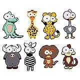 SOLUSTRE 8 imanes de silicona para nevera, diseño de animales en 3D, dibujos animados, para pizarra, armarios de cocina, juguetes educativos para niños (patrón aleatorio)