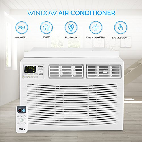 Della 8000 BTU Window Air Conditioner 820W, 110V/60Hz, 12.1 (EER) Energy Star Efficient Cooling Rooms up to 350 Sq. Ft. with 51 Pint/24hrs Dehumification, Digital Display with Remote