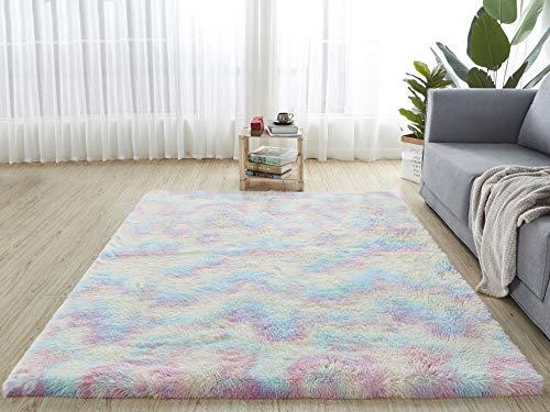 HETOOSHI alfombras mullidas de Interior súper Suaves y mullidas de Terciopelo Linda Alfombra de Dormitorio mullidaAdecuado para salón Dormitorio baño sofá Silla cojín(Multicolor 80 x 120 cm)