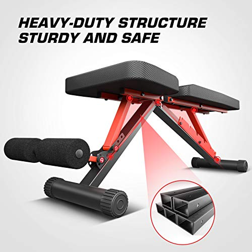 pelpo Adjustable Weight Bench for Strength Training, Foldable Full Body Workout Bench for Home Gym Bench Press