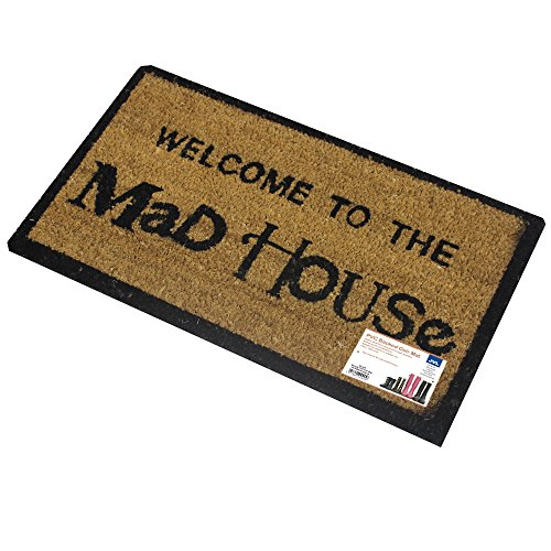 JVL Novelty Coir Mad House - Zerbino Rivestito in PVC, 33 x 60 cm