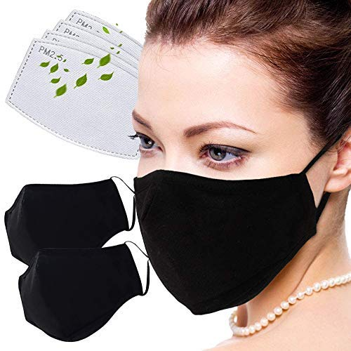 Facial Protection Filtration 95%, Anti-Fog, Dust-Proof With activated carbon filter Adjustable Headgear Nose wire Full Face Protection Masks(2 Pcs With 4Pcs activated carbon filter)