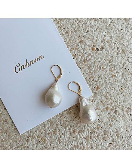 baijuxing Ohrringe Ohrringe Barock geformte Naturperlen Tropfenform 14k Gold Ohrringe Ohrringe Kleid passend