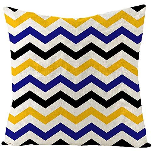 AtHomeShop - Federa decorativa per cuscino, 40 x 40 cm, in lino con strisce ondulate, comoda per casa, auto, soggiorno, camera da letto, ufficio, divano, patio, decorazione – giallo blu, stile 1