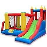 BSJZ Castillo Hinchable Inflable para Saltar, tobogán de Parque con Pared de Escalada, Borde de Baloncesto, Incluye Bolsa de Transporte, Kit de reparación, estacas d