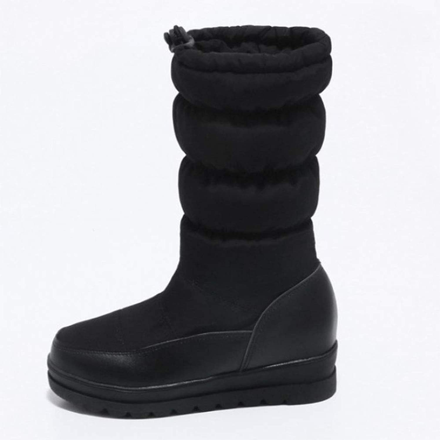 Women's Snow Boots Wedges in The Tube Round Head Down Cotton shoes Waterproof Platform Solid color Casual Cotton Boots