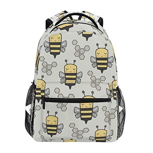 LNLN Bees Honeycomb Light Grey Backpacks College School Book Bag Travel Hiking Camping Daypack