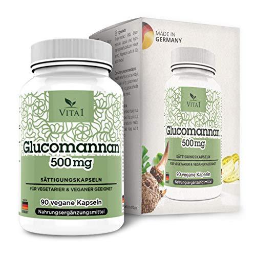 VITA1 Glucomannan 500mg • 90 Sättigungskapseln (2 Wochen Vorrat) • veganer Appetitzügler aus...