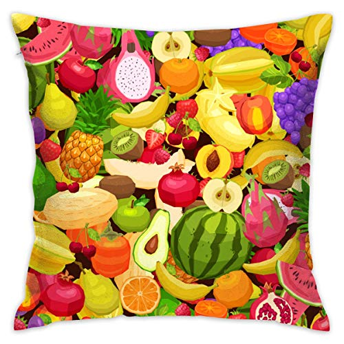 AOOEDM Fruit Pattern Customized Square Woven Decorative Cotton Linen Single Pillowcase Cushion Cover for Sofa Sofa Or Bed Set 18x18 Inches