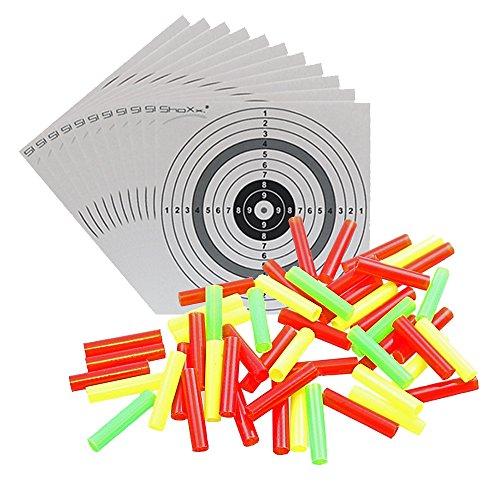 Plastikröhrchen 2500 Stk. bunt für Schießbude, Rummel, Kugelfang / Luftgewehr, Luftpistole + 10 ShoXx.® Zielscheiben 10er Ring