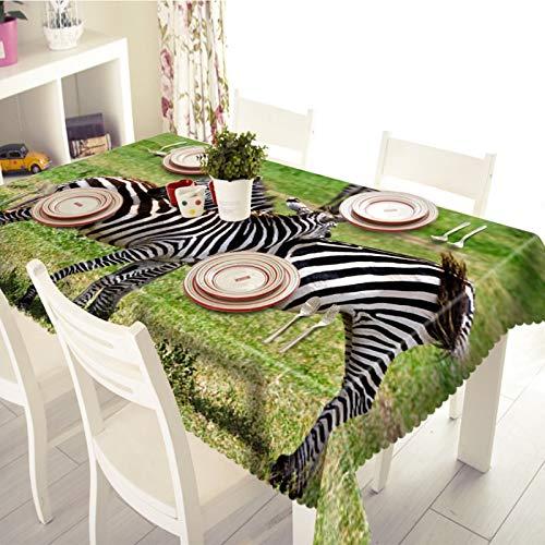 Cinnanal Rechteckig Tischtuch Stoff Polyester Wasserdicht Tischdecke Gartentisch Zebra für Esstischplatte Café Wohnzimmer 110X170cm Schwarz Weiß Grün