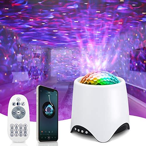 Projecteur Ciel Etoile, Veilleuse Enfant Projecteur Galaxie avec Haut-Parleur Bluetooth Lampe Projecteur LED Decoration Chambre Projecteur Étoile Rotatif Télécommande BéBé Cadeau - Blanc