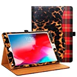 Casirena Case for iPad Air 2 / iPad Air/iPad 9.7 2018 2017, Multi-Angle Viewing Folio Smart Stand Back Cover with Pocket, Pencil Holder, Auto Wake/Sleep (Leopard Red Plaid)