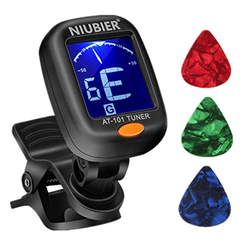 NIUBIER Guitar Tuner Digital Clip-on Tuner for Acoustic Electric Classical Guitars,Ukulele,Bass,Violin,Mandolin,Banjo,Large Clear LCD Display for...