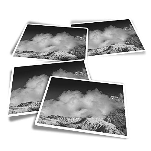 Vinyl Rectangle Stickers (Set of 4) - BW - Mount Everest Fun Decals for Laptops,Tablets,Luggage,Scrap Booking,Fridges #36203