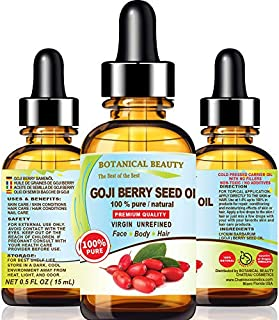 GOJI BERRY SEED OIL Lycium Barbarum Himalayan 100 % Pure Natural Virgin Unrefined Cold Pressed Carrier Oil 0.5 Fl. Oz.- 15...