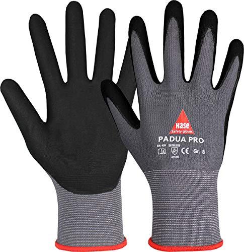 10 Paar Hase Safety Gloves Padua Pro Montagehandschuhe Arbeitshandschuhe mit Nitrilbeschichtung, Angenehmer Tragekomfort, Ideal für Handwerk, Automotive, Industrie, Gr. M (08)