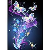 Pintura De Diamante, Bricolaje 5D Taladro Cuadrado Completo Pintura De Diamante'Flor Y Mariposa' Bordado 3D Mosaico De Punto De Cruz Decoración Del Hogar-40x50cm