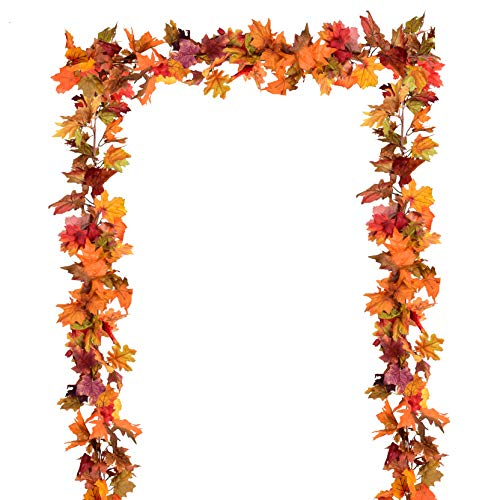 Artiflr 2 Pack Fall Garland Maple Leaf, 5.9Ft/Piece Hanging Vine Garland Artificial Autumn Foliage Garland Thanksgiving Decor for Home Wedding Fireplace Party Christmas