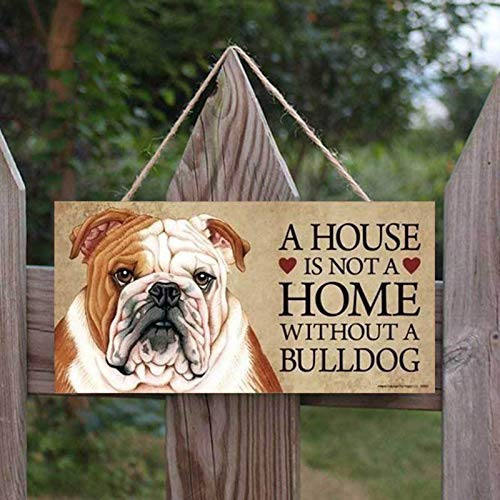 """Ya-tube 8""""x4'' French Bulldog Door Sign,with 17.17'' Lanyard A House is Not A Home Without A Bulldog Wood Sign Hanging Plaque, Advice from A Bulldog Door Sign"""