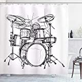 SYLZBHD Cortina de Ducha de música Rock Doodle Dibujo Estilo de Dibujo Baterista Inspiraciones Musicales Arreglo Monocromo Decoración de baño Set W180xH200cm