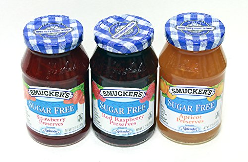 Smuckers Sugar Free Preserves 3 in 1 Apricot, Red Rasberry, Strawberry Preserves, Variety Pack