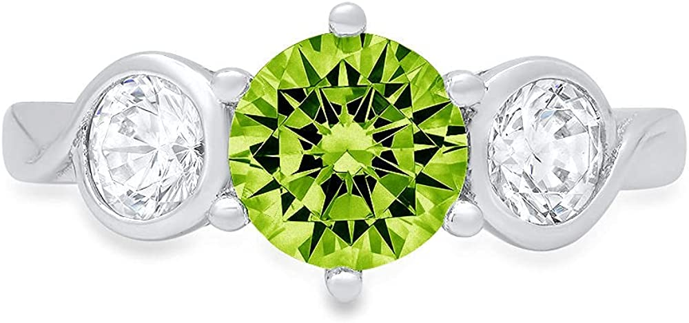 1.85 ct Brilliant Round Cut 3 stone Solitaire Genuine Flawless Natural Green Peridot Gemstone Engagement Promise Statement Anniversary Bridal Wedding Accent Ring Solid 18K White Gold