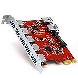 CSL - 7 Port USB 3.0 PCI Express PCIe Controller - 5 x extern Ports 2 x intern - 15 pin SATA-Stromanschluss - Schnittstellenkarte USB 3.0 Super Speed - USB Hub intern