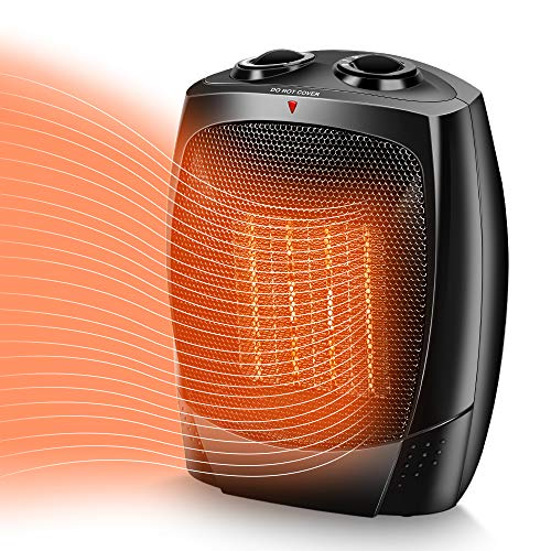 TRUSTECH Space Heater, 1500W Portable Heater, Up to 200sq, 3 Modes Adjustable, Tip-Over and Overheat Protection, Adjustable Thermostat, Fast Heat in 3s, PTC Heating Space heaters for Indoor Use Heater Portable Space