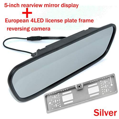 5 pouces couleur TFT LCD rétroviseur de voiture écran moniteur de voiture inversé avec vision nocturne UE Europe plaque d'immatriculation montage vue arrière caméra guide lignes de stationnement