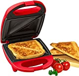 Nostalgia mini sandwich maker toaster compact for portion control seals and toasts sandwich panini maker (RED)