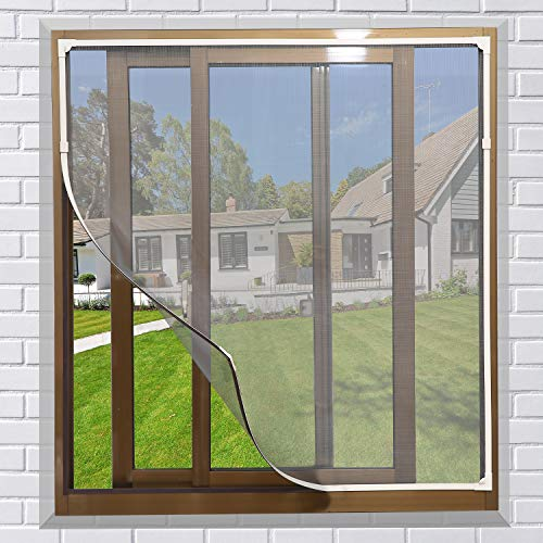 NeatiEase DIY Insektenschutz Magnetfenster, Max 130 x 150 CM, Magnet Rahmen für Fliegengitter Fenster Mückengitter, waschbares, weiß, kein Stanzen erforderlich Flammhemmend & wasserdicht