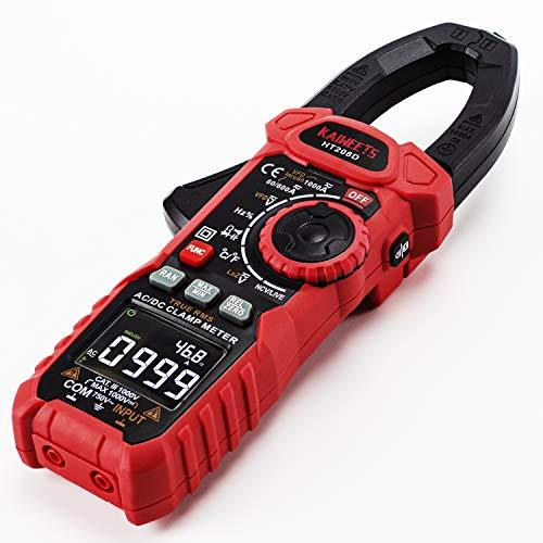 KAIWEETS 208D Digital Pinza Amperimétrica Profesional para medir 1000A CA CC Corriente y Tensión, T-RMS, InRush, VFD, Autorango, NCV, Amperímetro de Capacitancia, Resistencia, Bateria