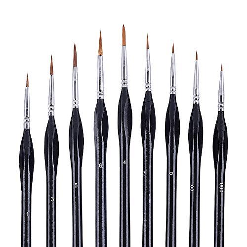 Hbsite Detail Pinsel-Set 9 PCS Artist Miniatur-Pinsel Perfekt für Acryl, Aquarell, Öl, Gesichtsbemalung, Nagel, Modellmalerei, Strichzeichnung und mehr