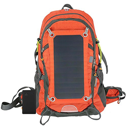 Solar Charger Internal Frame Backpack Hiking Camping Backpacks with 2L Hydration Bladder, Removable 7W Sunpower Solar Panel, 10000mAh Battery Charger for Cell Phone,Tablet,GPS,Camera Charging