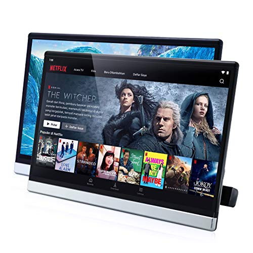 13.3 Inch Android 9.0 Universal Headrest Monitor Video Player for Car TV Touch Screen Support 4K 1080P Headset WiFi/Bluetooth/USB/SD/HDMI in/Out/FM/Mirror Link NO DVD (4G ram 64G ROM (2PC))