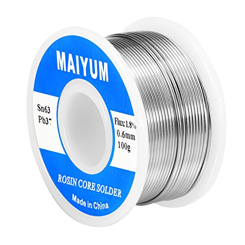 MAIYUM 63-37 Tin Lead Rosin core solder wire for electrical soldering (0.6mm 100g)