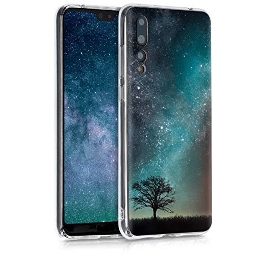 kwmobile Hülle kompatibel mit Huawei P20 Pro - Handyhülle - Handy Case Galaxie Baum Wiese Blau Grau Schwarz