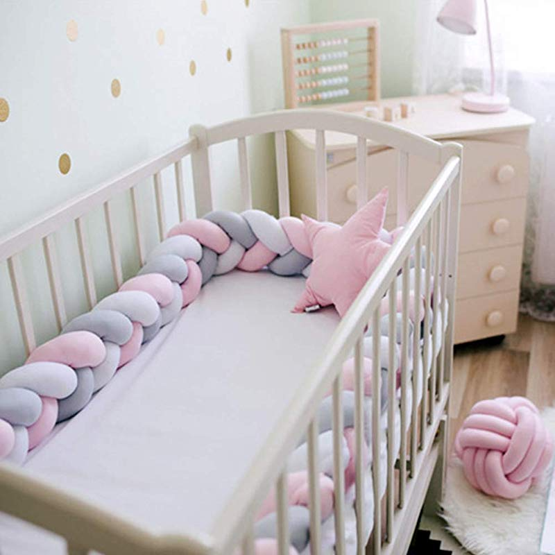 YanQxIzbiu Baby Crib Bumper Knotted Braided Newborn Pillow Cushion Plush Junior Bed Sleep Bumper Nursery Cradle Decor White Grey Pink