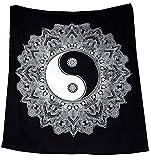 Tapiz Raajsee de algodón indio con diseño de mandala color negra y blanca para colgar en la pared, 220 x 230cm, algodón, Yin Yang, 220*240