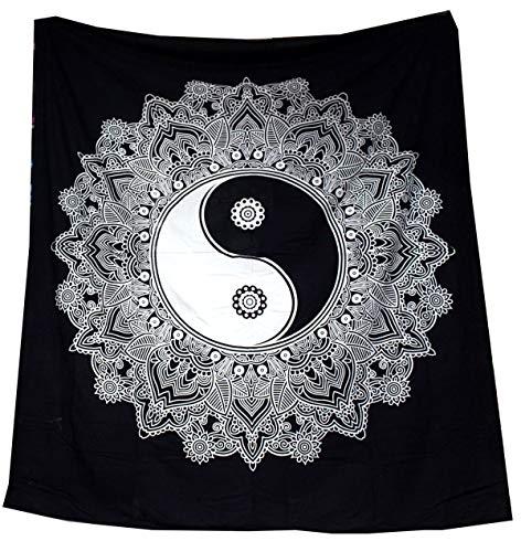 Tapiz Raajsee de algodón indio con diseño de mandala color negra y b