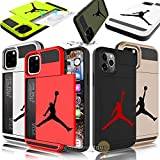 iPhone 11 Pro - Dual-Layered Credit Card ID Storage Basketball Jordan Compartment Phone Case to Store Money Cash Drivers License Cards with Slide Wallet Michael Air Protective Cover (Gold)