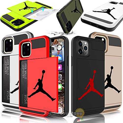 iPhone 11 Pro Max - Dual-Layered Credit Card ID Storage Basketball Jordan Compartment Phone Case to Store Money Cash Drivers License Cards with Slide Wallet Michael Air Protective Cover (Black & Red)