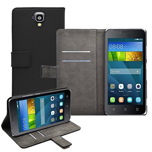 Schwarz Brieftasche Klapptasche Hülle kompatibel mit Huawei Y5 (Y560)