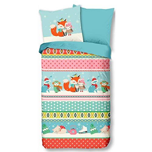 Aminata Kids Biber Bettwäsche Eule 135x200 cm + 80x80 cm aus Baumwolle mit Reißverschluss, unsere Kinderbettwäsche mit Fuchs-Motiv ist weich und kuschelig