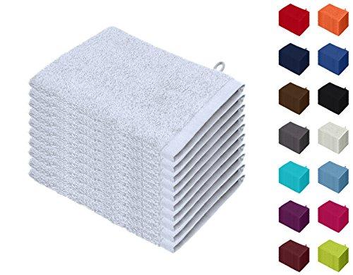 10er Pack Waschhandschuhe, Waschlappen Größe 15x21 cm in Weiss 100% Baumwolle