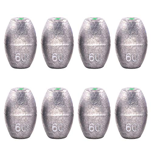 Swpeet 8Pcs 60g Egg Olive Shape Sinkers Fishing Sinkers Worm Sinker Fishing Weights Bass Casting Bullet Weight for Rig Fishing